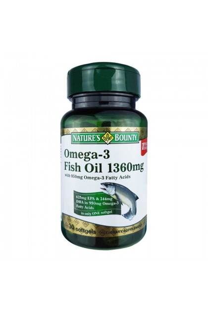 Nature's Bounty Omega-3 Fish Oil 1360mg (90's)